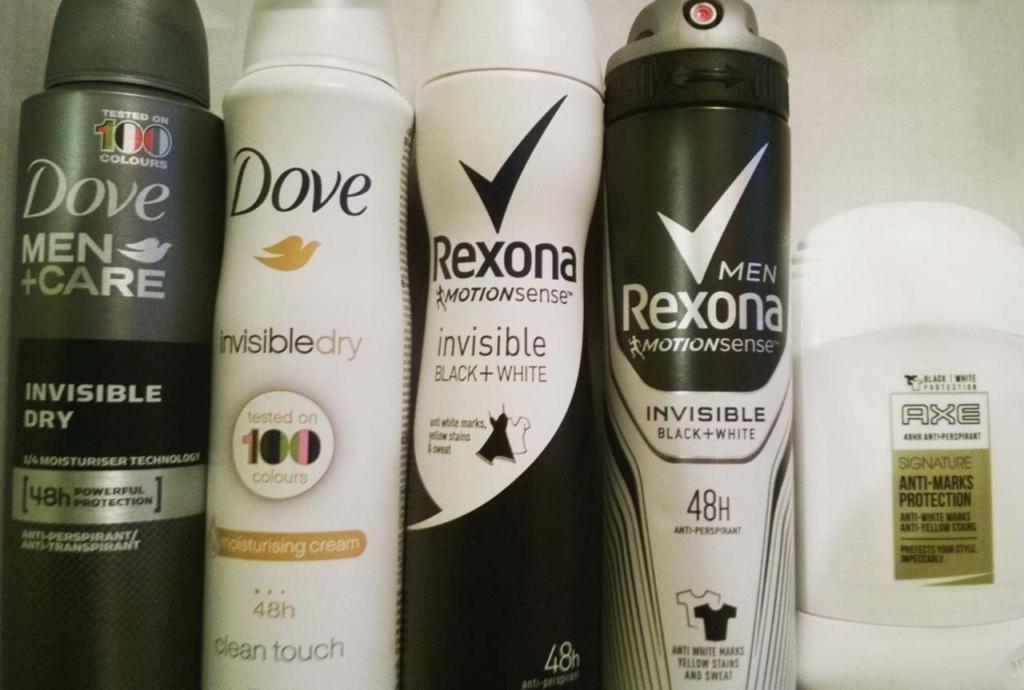 antyperspirant Dove, Rexona, AXE